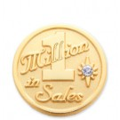 1 Millions in sales stock lapel pin with military clutch