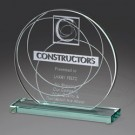"6"" x 6"" x 2"" Circle Jade Glass Award - FS131M"