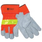 Hi-Viz Leather Gloves w/Safety Cuffs - 22433